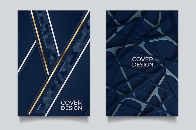 Conjunto de capas elegantes em azul profundo