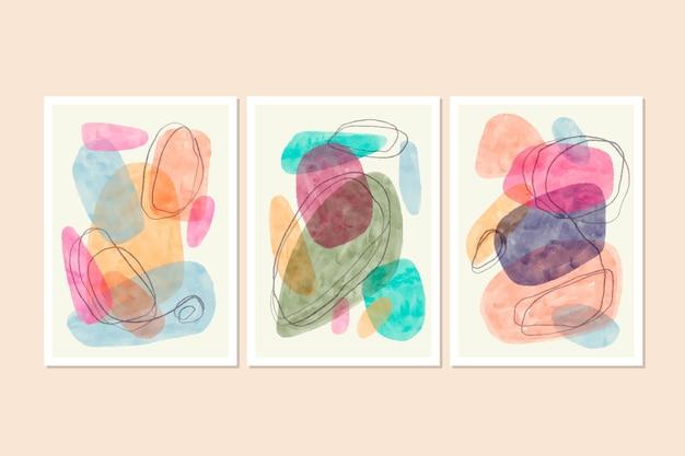 Conjunto de capas em aquarela abstrata