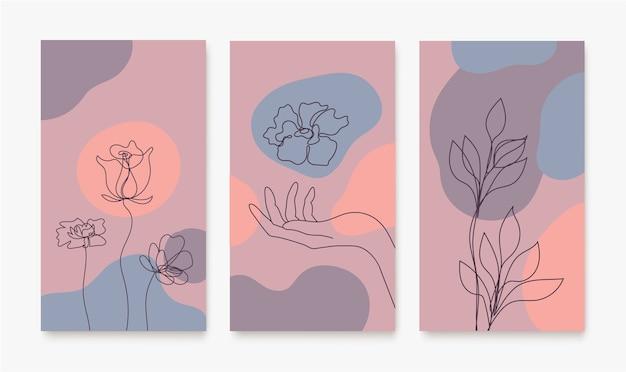 Conjunto de capas para mídia social histórias cartões panfleto cartaz banners de aplicativos móveis e outras promoções linha contínua mão desenhada mãos folhas florais