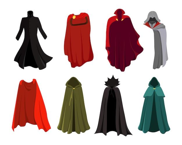 Conjunto de capas. roupa de festa de capas e conjunto de fantasia de herói. roupas de carnaval. mantos vermelhos super-heróis, personagens de quadrinhos e roupas. mago, elfo, vampiro.