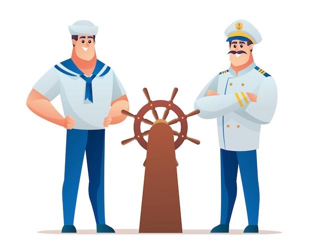 Conjunto de capitão e marinheiro ao volante