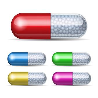 Conjunto de cápsula médica com grânulos em fundo branco. ilustração
