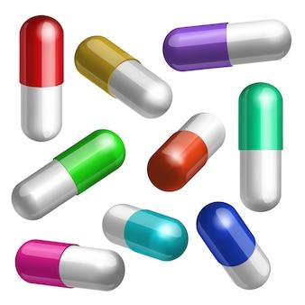 Conjunto de cápsulas médicas coloridas em ilustração de diferentes posições