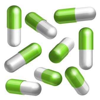 Conjunto de cápsulas médicas verdes e brancas em diferentes posições ilustração
