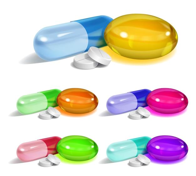 Conjunto de cápsulas oblongas e elípticas multicoloridas e pílulas redondas brancas