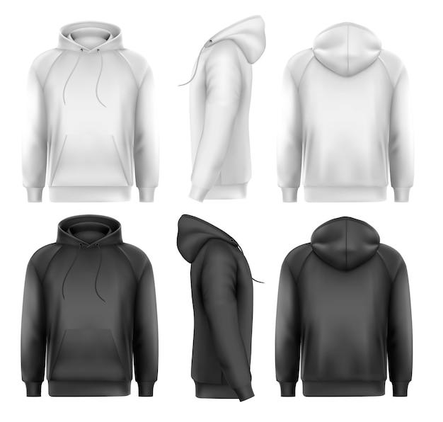 Conjunto de capuz masculino preto e branco