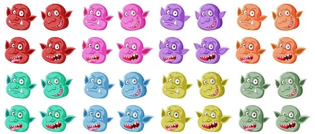 Conjunto de cara colorida de goblin ou troll em diferentes expressões em estilo cartoon isolado