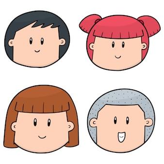 Conjunto de cara de desenho animado