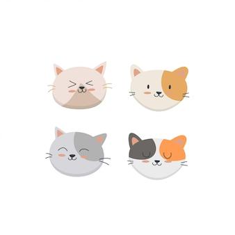Conjunto de cara de gato fofo