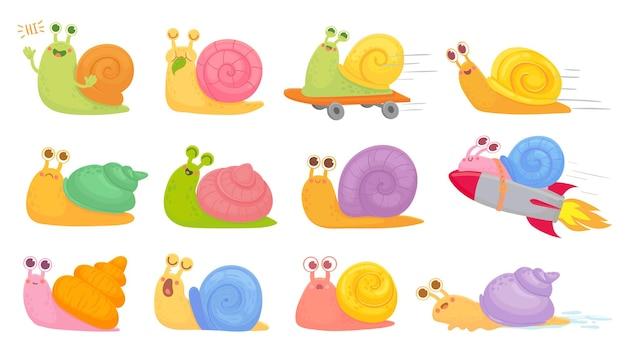 Conjunto de caracóis de desenho animado