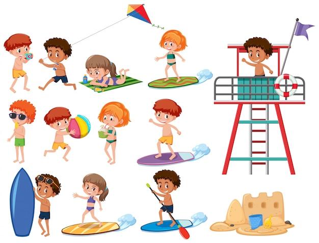 Conjunto de caractere de crianças de praia