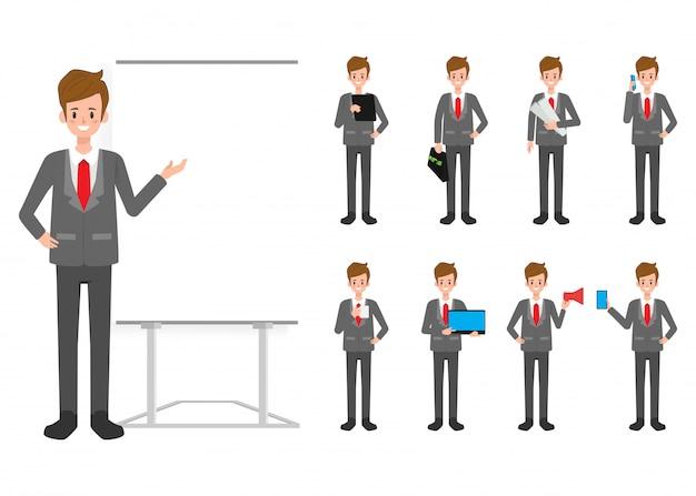 Conjunto de caractere de empresário em trabalhador de escritório.