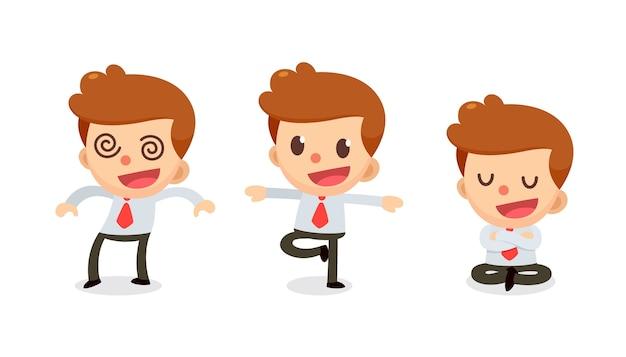 Conjunto de caractere de empresário minúsculo em ações