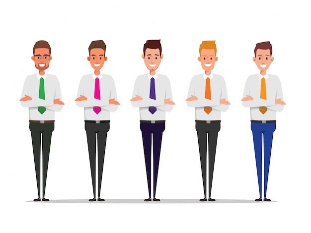 Conjunto de caractere de empresário no trabalho em equipe.
