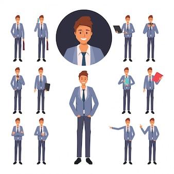 Conjunto de caractere de empresário no trabalho
