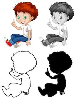 Conjunto de caractere de menino inglês