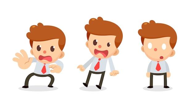 Conjunto de caractere minúsculo de empresário em ações