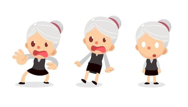 Conjunto de caractere minúsculo empresária em ações. uma mulher com cabelos grisalhos. assustado e chocado.