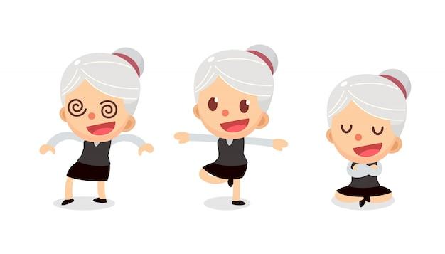 Conjunto de caractere minúsculo empresária em ações. uma mulher com cabelos grisalhos. dormência.