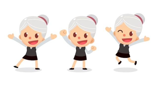 Conjunto de caractere minúsculo empresária em ações. uma mulher com cabelos grisalhos. fico feliz e feliz.