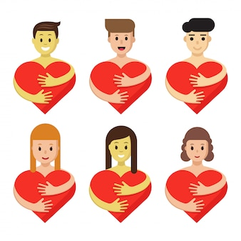 Conjunto de caracteres, abraçando o coração. os povos dos desenhos animados mantêm símbolos vermelhos do amor isolados.
