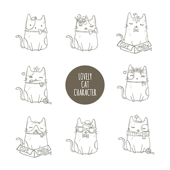 Conjunto de caracteres adorável gato
