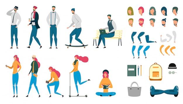 Conjunto de caracteres animados de pessoas masculinas e femininas