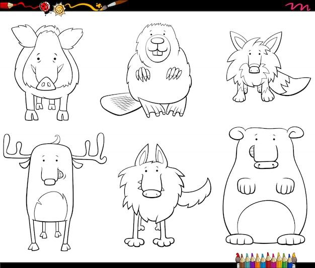 Conjunto de caracteres animais dos desenhos animados para colorir página de livro