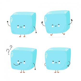 Conjunto de caracteres bonito feliz cubo de gelo