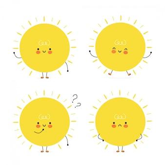 Conjunto de caracteres bonito sol feliz
