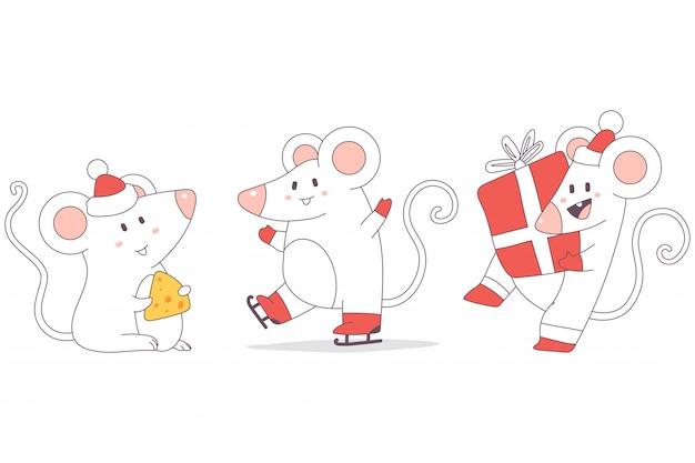 Conjunto de caracteres bonitos de ratos de natal.