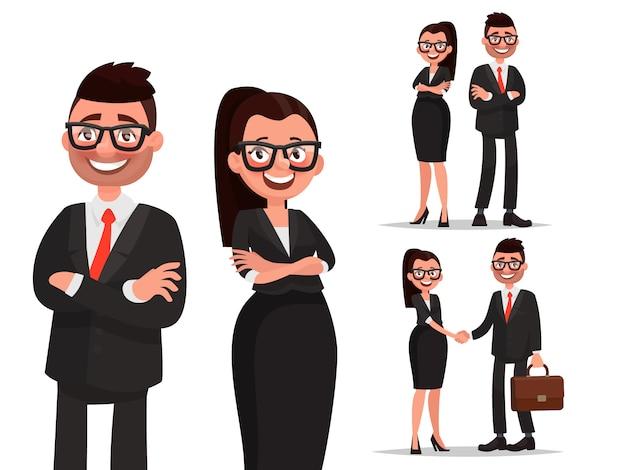 Conjunto de caracteres casal de negócios. aperto de mão e cooperação. homem e mulher vestida em trajes de negócios. empresário e empresária