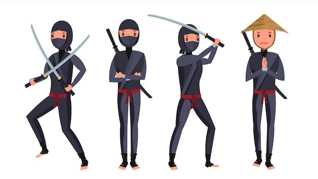 Conjunto de caracteres clássico ninja