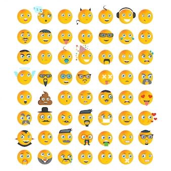 Conjunto de caracteres com expressões de emoções diferentes.