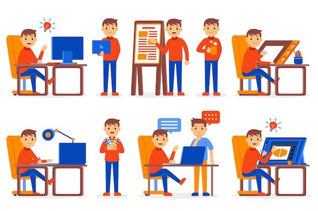 Conjunto de caracteres da profissão de designer gráfico