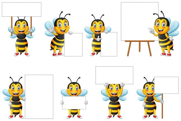 Conjunto de caracteres de abelha bonito dos desenhos animados e quadro-negro para escrever.