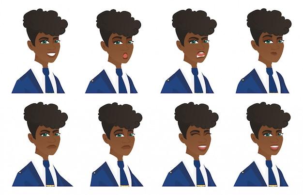 Conjunto de caracteres de aeromoça.