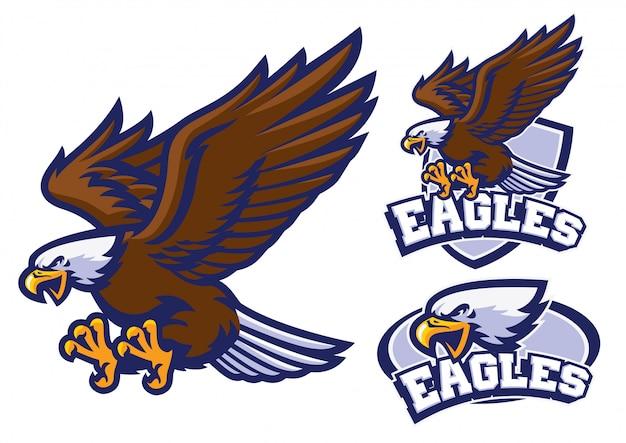 Conjunto de caracteres de águia no estilo do logotipo de mascote de esporte