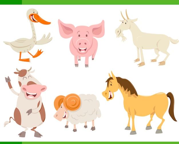 Conjunto de caracteres de animais de fazenda
