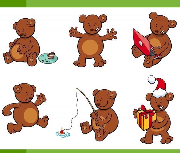 Conjunto de caracteres de animais de ursinho de desenhos animados