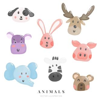 Conjunto de caracteres de animais em aquarela