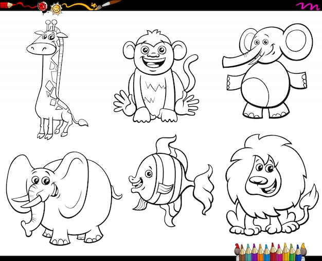 Conjunto de caracteres de animais livro para colorir