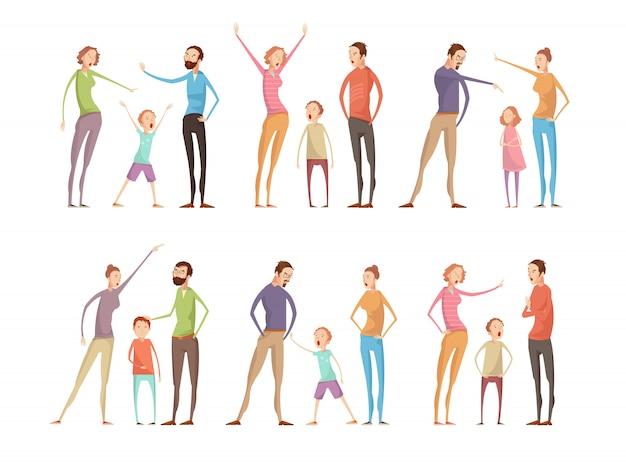 Conjunto de caracteres de argumentos de família
