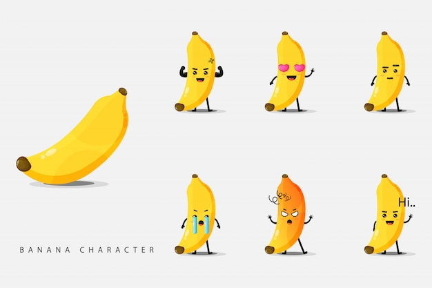 Conjunto de caracteres de banana fofo