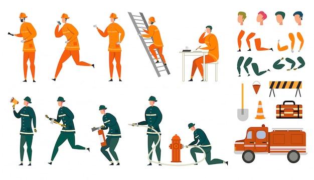 Conjunto de caracteres de bombeiro animado dos desenhos animados