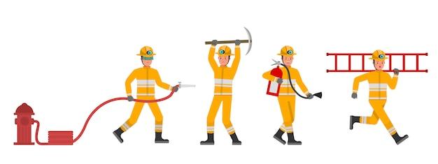 Conjunto de caracteres de bombeiro. apresentação em várias ações.