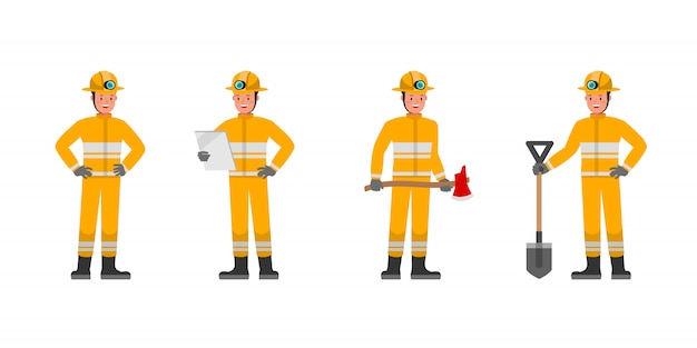 Conjunto de caracteres de bombeiro. apresentação em várias ações