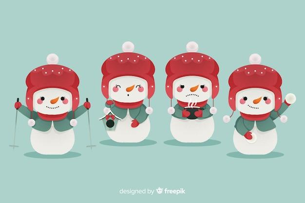 Conjunto de caracteres de boneco de neve de design plano
