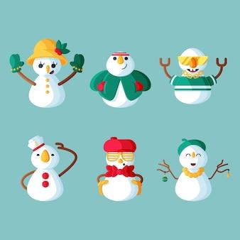 Conjunto de caracteres de boneco de neve de ilustração de design plano