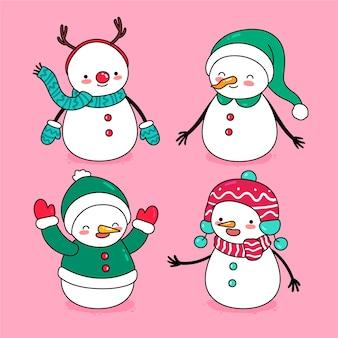 Conjunto de caracteres de boneco de neve desenhada de mão